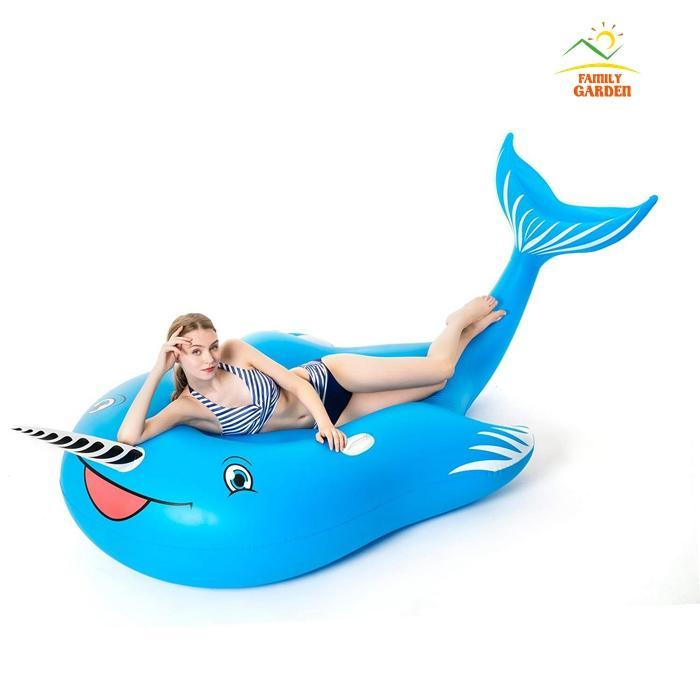 Giant Inflatable Unicorn Blue Whale Pool Float With Rapid Valves ...