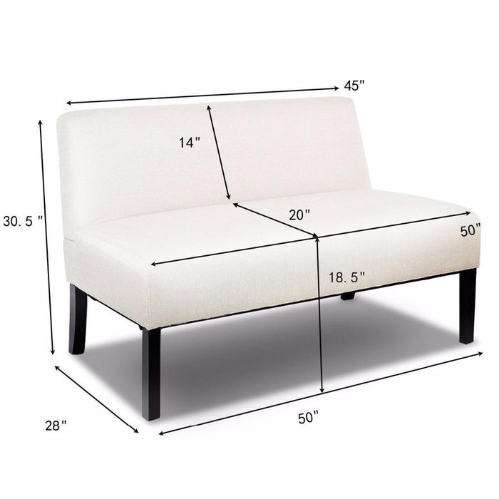 Giantex Armless Loveseat Sofa Fabric Settee Bench Bed Chair Wooden Leg Living Room Home Furniture-Goplus-HW59042BE-EpicWorldStore.com