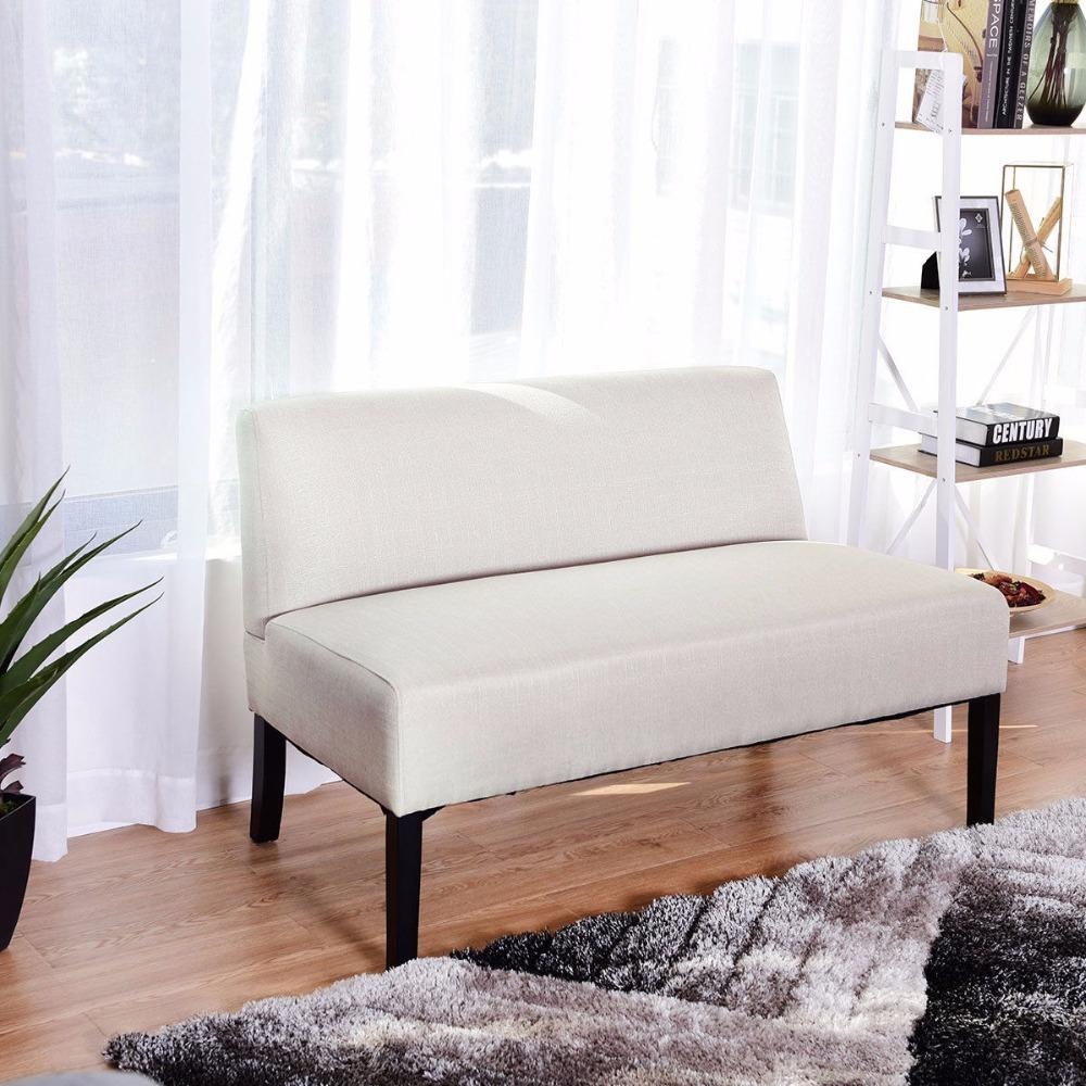 Giantex Armless Loveseat Sofa Fabric Settee Bench Bed Chair Wooden Leg  Living Room Home Furniture