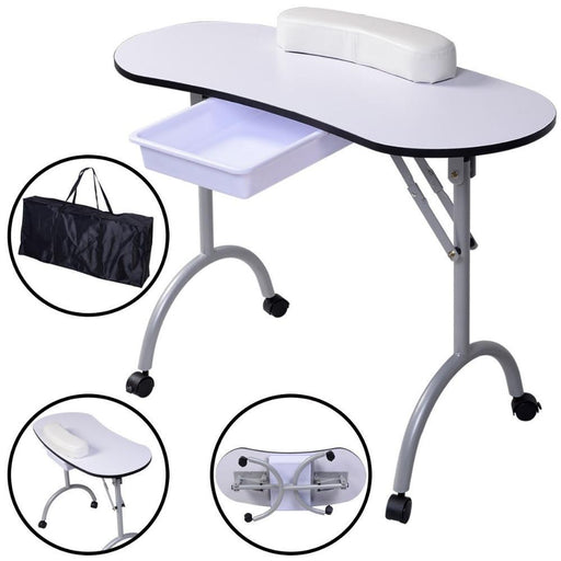 Giantex New Portable Kapsalon Meubilair Manicure Equipm Nail Table Station Desk Spa Beauty-Goplus-white-EpicWorldStore.com