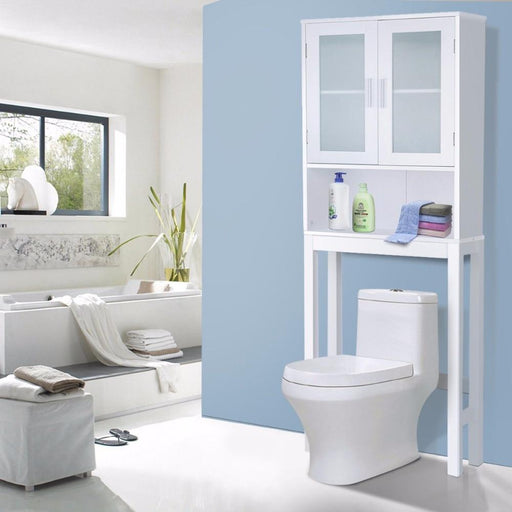 Giantex Wooden Over Toilet High Storage Cabinet Spacesaver Organizer White Modern Bathroom Cabinet-Goplus-EpicWorldStore.com