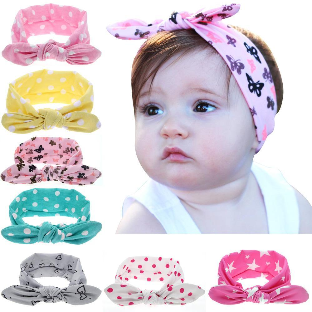 3d8e0b5bb78 Girls Dot Bowknot Print Floral Headbands Newborn Infant Hair Accessories  Children Rabbit Ears-Baby Girls