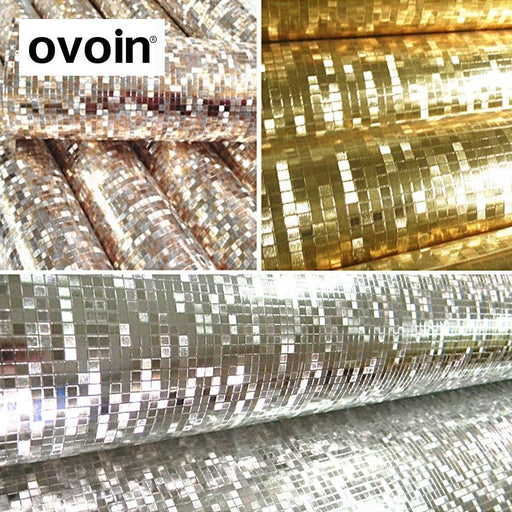 Glitter Mirror Effect Mini Mosaic Sparkle Light Reflect Gold Foil Wallpaper Silver Foil Wall Paper-ovoin Official Store-WP03803 golden-EpicWorldStore.com