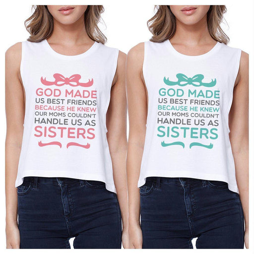 God Made Us Bff Matching Crop Top Womens Funny Best Friend Gifts-Apparel & Accessories-365 Printing-White-Large-Large-EpicWorldStore.com