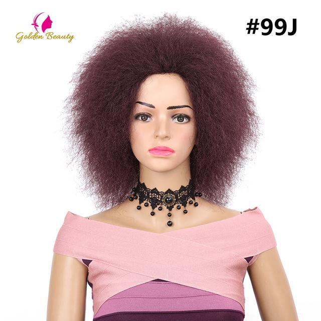 Golden Beauty Kinky Curly Short Afro Wigs 6inch Synthetic Wig For Women 90g Freedress Hair