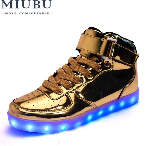 3f3d8982a41 Golden Silver Big Size 46 Led Shoes Men Glowing Cool Light Flat Shoes  High-top