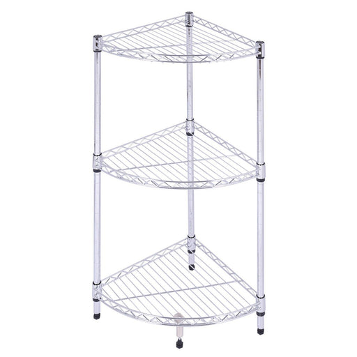 Goplus 3 Tier Coner Shelf Bathroom Storage Rack Home Office Kitchen Organizer Modern Steel Sector-Goplus-EpicWorldStore.com