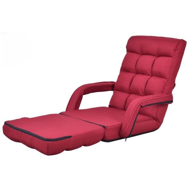 Strange Goplus Folding Lazy Sofa Linen Modern Floor Chair Sofa Lounger Bed With Armrests And Pillow Living Caraccident5 Cool Chair Designs And Ideas Caraccident5Info