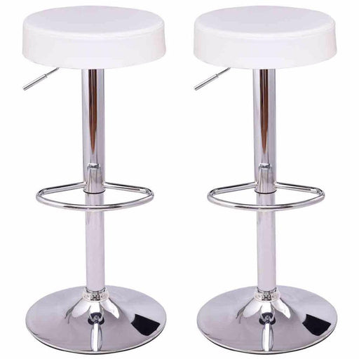 Goplus Set Of 2 Round Leather Bar Stools Modern Seat Chrome Leg Adjustable Hydraulic Swivel Bar-Bar Furniture-Goplus-HW55666WH-EpicWorldStore.com