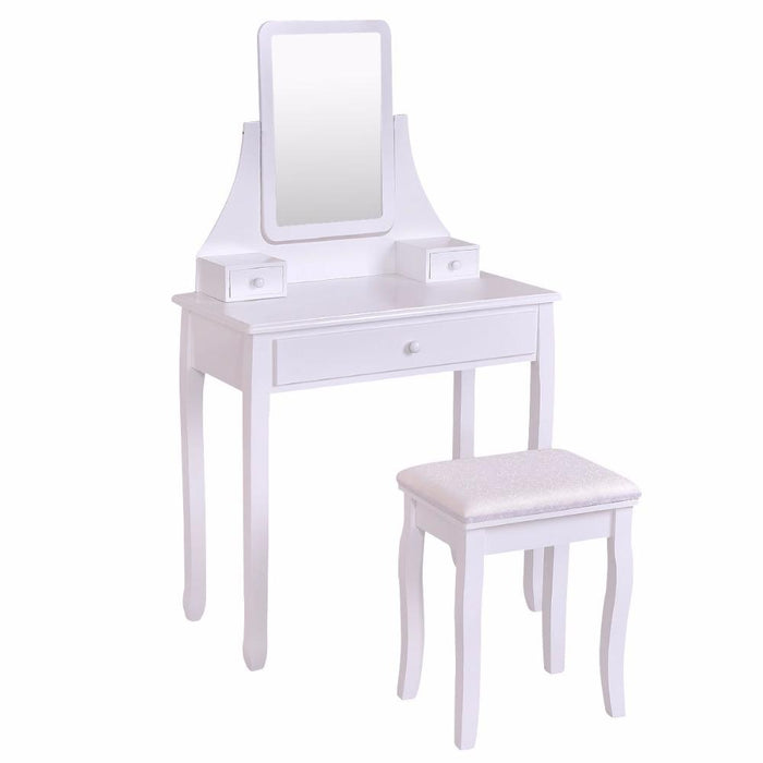 Magnificent Goplus White Makeup Dressing Table Vanity Desk And Stool Set With Square Mirror And 3 Drawers Gmtry Best Dining Table And Chair Ideas Images Gmtryco