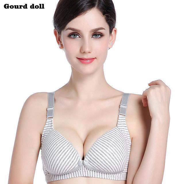 b553e2d9d83 Gourd Doll Wire Free Breastfeeding Maternity Nursing Bra Cotton Sleep Bras  Nursing Pregnant Women-Pregnancy