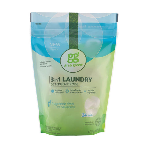 Grab Green Laundry Detergent - Fragrance Free - Case Of 6 - 24 Count-Eco-Friendly Home & Grocery-Grab Green-EpicWorldStore.com