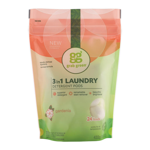 Grab Green Laundry Detergent - Gardenia - Case Of 6 - 24 Count-Eco-Friendly Home & Grocery-Grab Green-EpicWorldStore.com