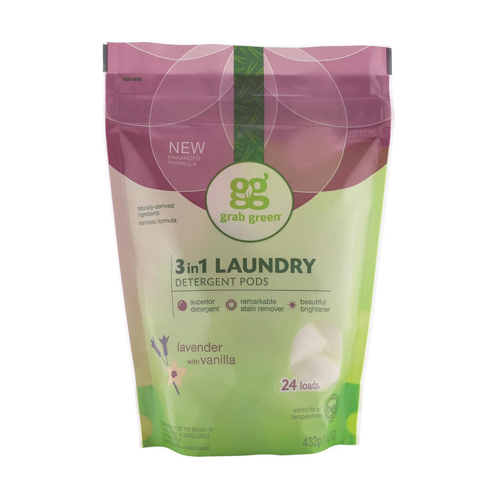 Grab Green Laundry Detergent - Vanilla - Case Of 6 - 24 Count-Eco-Friendly Home & Grocery-Grab Green-EpicWorldStore.com