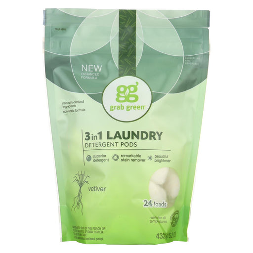 Grab Green Laundry Detergent - Vetiver - Case Of 6 - 24 Count-Eco-Friendly Home & Grocery-Grab Green-EpicWorldStore.com
