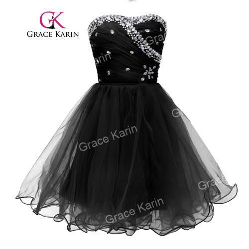 Grace Karin Blue Black White Short Cocktail Dresses Strapless Formal Cute  Ball Gown Stylish Party- 7b9613019