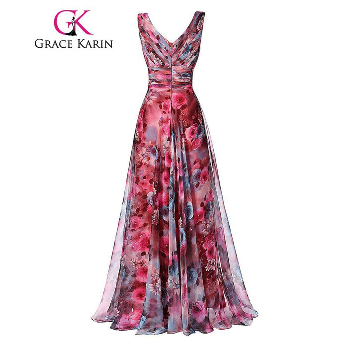 0202adb6983a0 Grace Karin Long Prom Dress High Quality The Most Beautiful Formal Party  Gown Floral Pattern