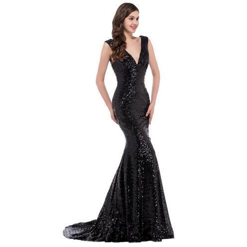 cedccab5a43 Grace Karin Luxury Long Evening Dress Sequin Mermaid Evening Gown Deep V Red  Golden Formal Prom
