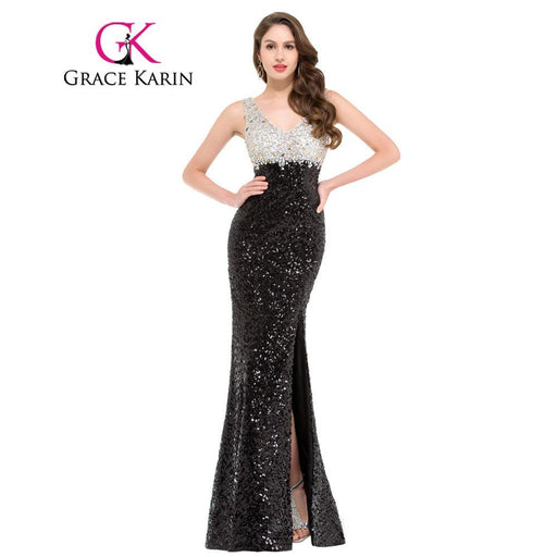 140f057655a Grace Karin Mermaid Evening Dress Black High Split Evening Gowns Double V  Neck Sequin Special-
