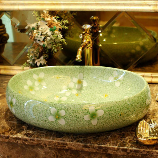 Green Glazed Flower Porcelain Bathroom Vanity Bathroom Sink Bowl Countertop Oval Bathroom Sink-Bathroom Sinks-China art ceramic sinks Store-EpicWorldStore.com