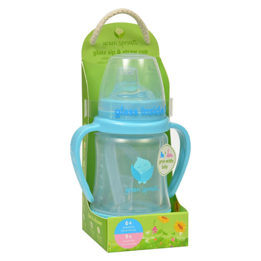 Green Sprouts Cup - Sip N Straw - Glass - 6 Months Plus - Aqua - 1 Count-Eco-Friendly Home & Grocery-Green Sprouts-EpicWorldStore.com