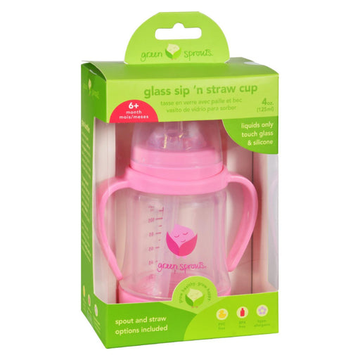 Green Sprouts Cup - Sip N Straw - Glass - 6 Months Plus - Pink - 1 Count-Eco-Friendly Home & Grocery-Green Sprouts-EpicWorldStore.com