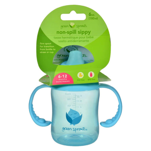 Green Sprouts Sippy Cup - Non Spill Aqua - 1 Ct-Eco-Friendly Home & Grocery-Green Sprouts-EpicWorldStore.com