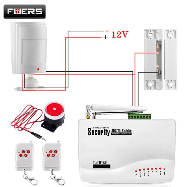 gsm alarm system for home security system with wired pir door sensor