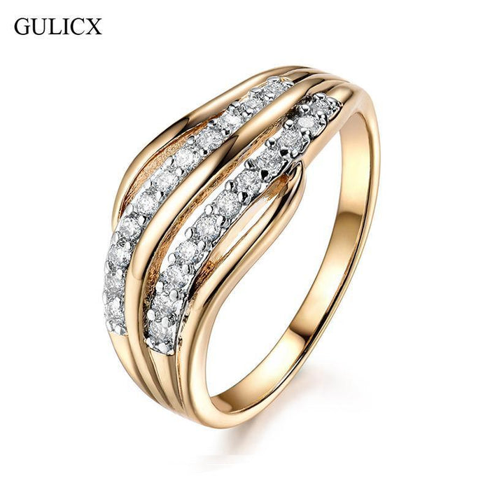 Wedding Bands For Women.Gulicx New Female Wedding Bands Jewelry Gold Color Engagement Ring For Women Cz Stone
