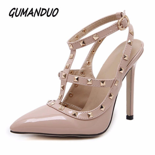 Gumanduo New Women Pumps Summer Stylish Rivets Pointed Toe Wedding Party High Heeled Shoes-Women's Pumps-Very Good 0926 Store-Beige-5-EpicWorldStore.com