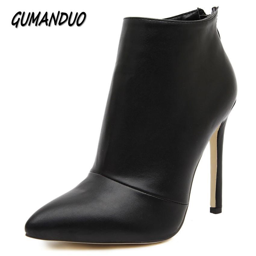 19d6172fe19c Gumanduo Women Pumps High Heels Boots Shoes Woman Pointed Toe Wedding Party  Dress Stiletto Ladies-