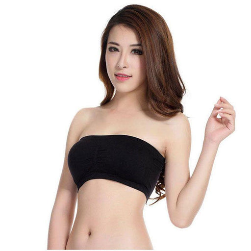147f21df4b H34 Womens Soft Seamless Strapless Top Breathable Bras Bandeau Boob Tube-Tube  Tops-SMT