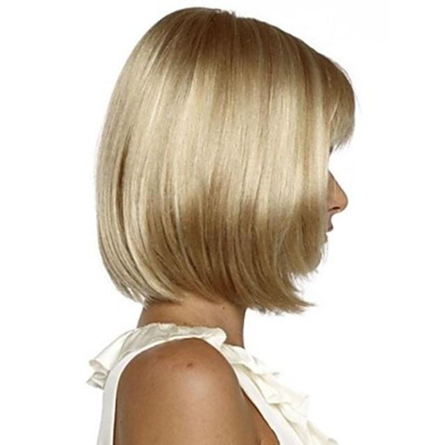 Hairjoy White Women Synthetic Full Wigs Short Straight Bob Hairstyle
