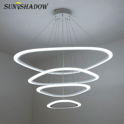 Hang Lamp Led Chandelier For Dining Room Living Room Acrylic Plafond 4/3/2 Rings Led Chandelier-Chandeliers-BT Lighting Fixtures Store-White-64 43 25cm 3rings-Warm white no remote-EpicWorldStore.com