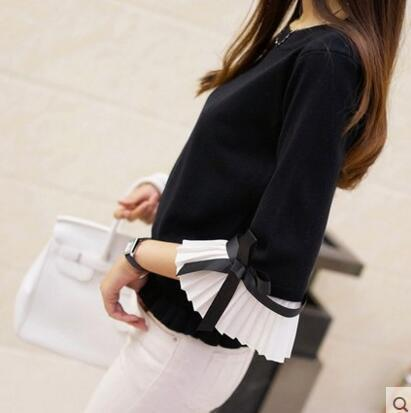 Hao He Shen New Spring Autumn Women Sweater Chiffon Flare Sleeve Bow Pullover Slim-Sweaters-Fashion-EmZ-black-EpicWorldStore.com