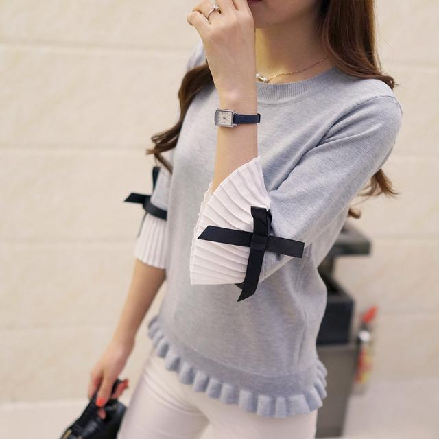 Hao He Shen New Spring Autumn Women Sweater Chiffon Flare Sleeve Bow Pullover Slim-Sweaters-Fashion-EmZ-grey-EpicWorldStore.com