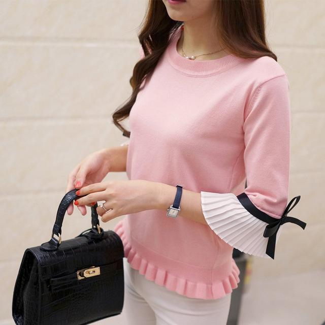 Hao He Shen New Spring Autumn Women Sweater Chiffon Flare Sleeve Bow Pullover Slim-Sweaters-Fashion-EmZ-pink-EpicWorldStore.com