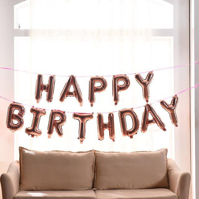 Happy Birthday Balloons Alphabet Letters Hanging Party Decorations Kids Golden Silver Festive