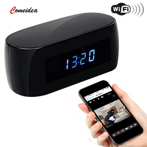 Hd 1080P Wi-Fi Ip Camera Alarm Clock With Motion Detection Night Vision Video Recorder Wireless Ip-Shield Drop Shipping Store-1080P Not Card-EU Plug-EpicWorldStore.com