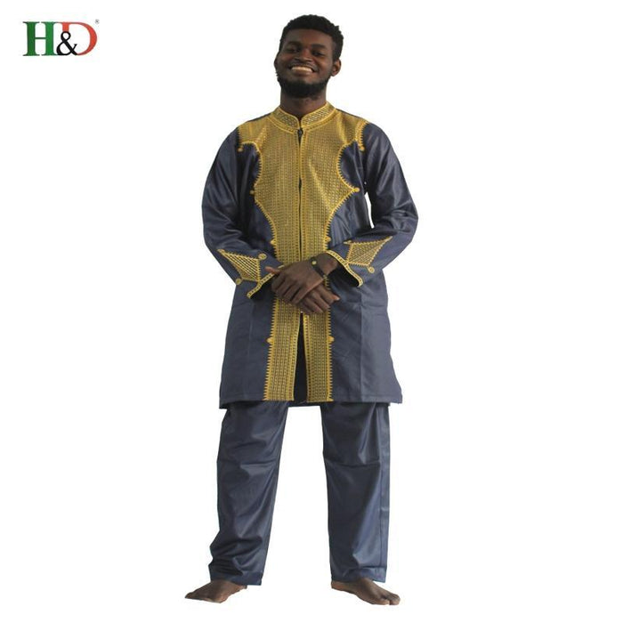 H&D All African Sleeve Mens Traditional Clothes Material Robe Bazin Riche Africano De Bordado-Traditional & Cultural Wear-H&D rich Bazin store-Black-M-EpicWorldStore.com