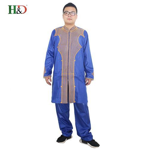 H&D All African Sleeve Mens Traditional Clothes Material Robe Bazin Riche Africano De Bordado-Traditional & Cultural Wear-H&D rich Bazin store-blue-M-EpicWorldStore.com