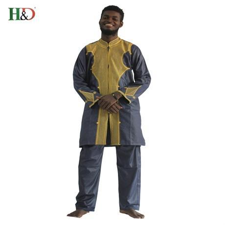 H&D All African Sleeve Mens Traditional Clothes Material Robe Bazin Riche Africano De Bordado-Traditional & Cultural Wear-H&D rich Bazin store-Dark blue-M-EpicWorldStore.com