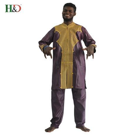 H&D All African Sleeve Mens Traditional Clothes Material Robe Bazin Riche Africano De Bordado-Traditional & Cultural Wear-H&D rich Bazin store-Purple-M-EpicWorldStore.com