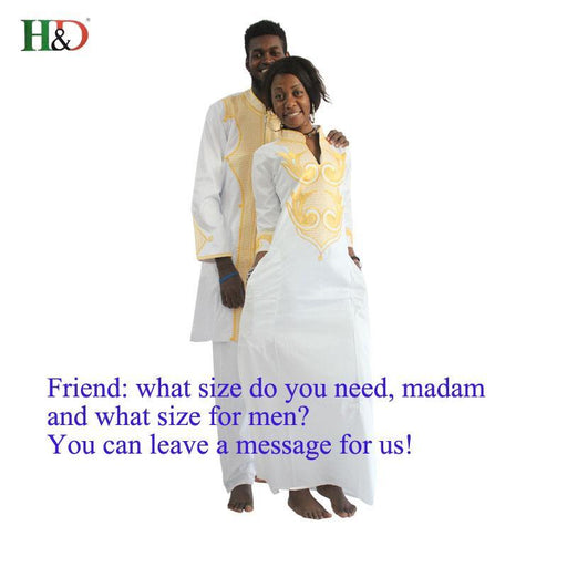 H&D Dashiki African Couple Dress Clothing For Men And Women Friends Get Married Bazin Traditional-Traditional & Cultural Wear-H&D African Clothes Store-Black-M-EpicWorldStore.com