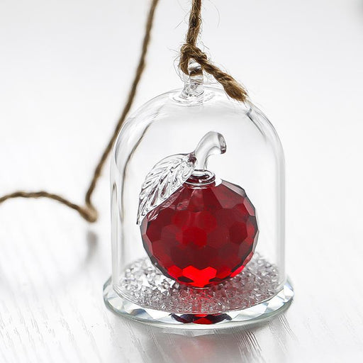 H&D X'Mas Gifts Red Cut Crystal Apple Paperweight Crafts In A Glass Dome Home Wedding Decoration-H&D Crystal 1-Clear-EpicWorldStore.com