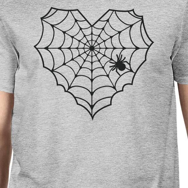 Heart Spider Web Mens Grey Shirt-Apparel & Accessories-365 Printing-X-LARGE-EpicWorldStore.com