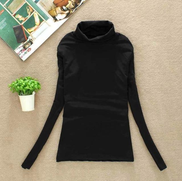 High Elastic Quality Autumn Winter Sweater Women Wool Turtleneck Pullovers Long-Sweaters-Fall In Love-W00869 black-EpicWorldStore.com