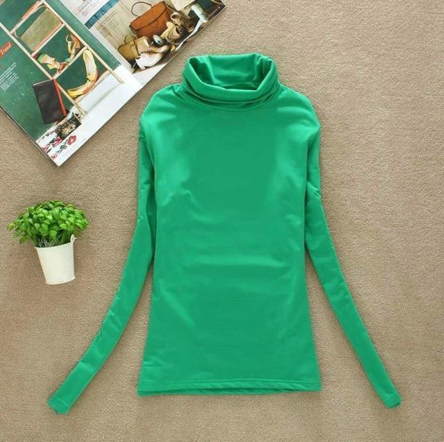 High Elastic Quality Autumn Winter Sweater Women Wool Turtleneck Pullovers Long-Sweaters-Fall In Love-W00869 dark green-EpicWorldStore.com