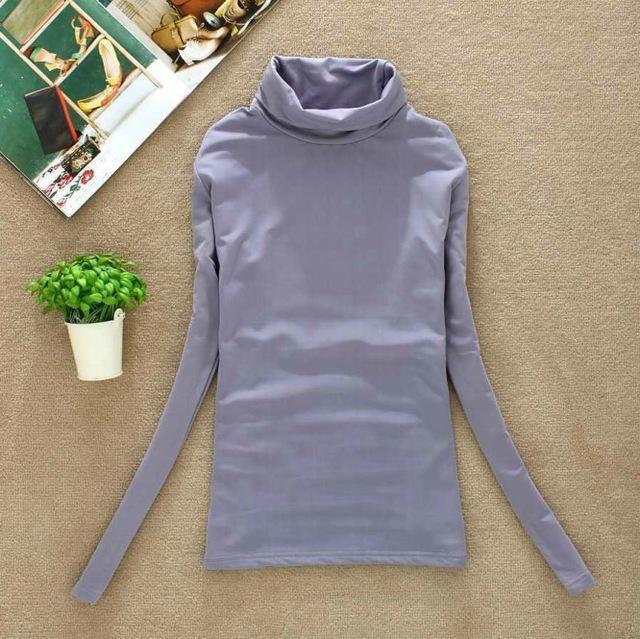High Elastic Quality Autumn Winter Sweater Women Wool Turtleneck Pullovers Long-Sweaters-Fall In Love-W00869 gray-EpicWorldStore.com
