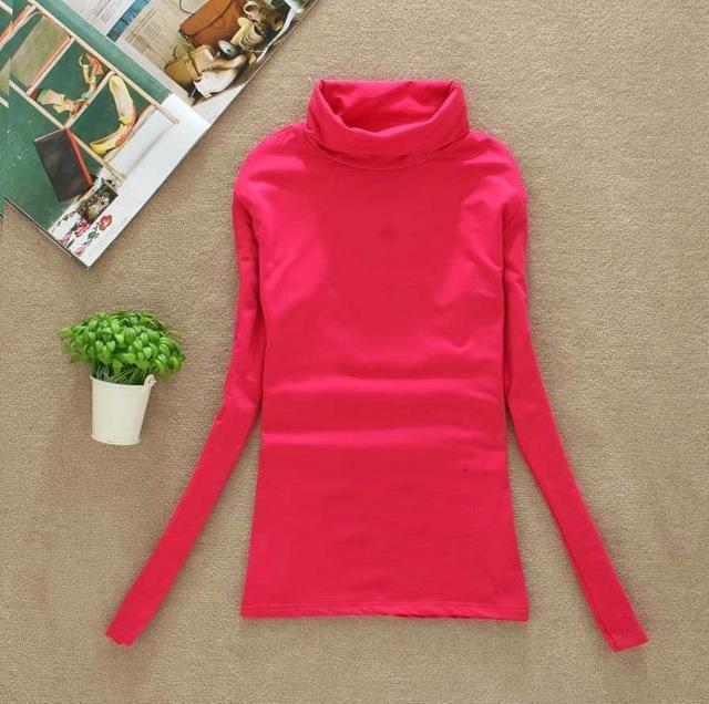 High Elastic Quality Autumn Winter Sweater Women Wool Turtleneck Pullovers Long-Sweaters-Fall In Love-W00869 hot pink-EpicWorldStore.com